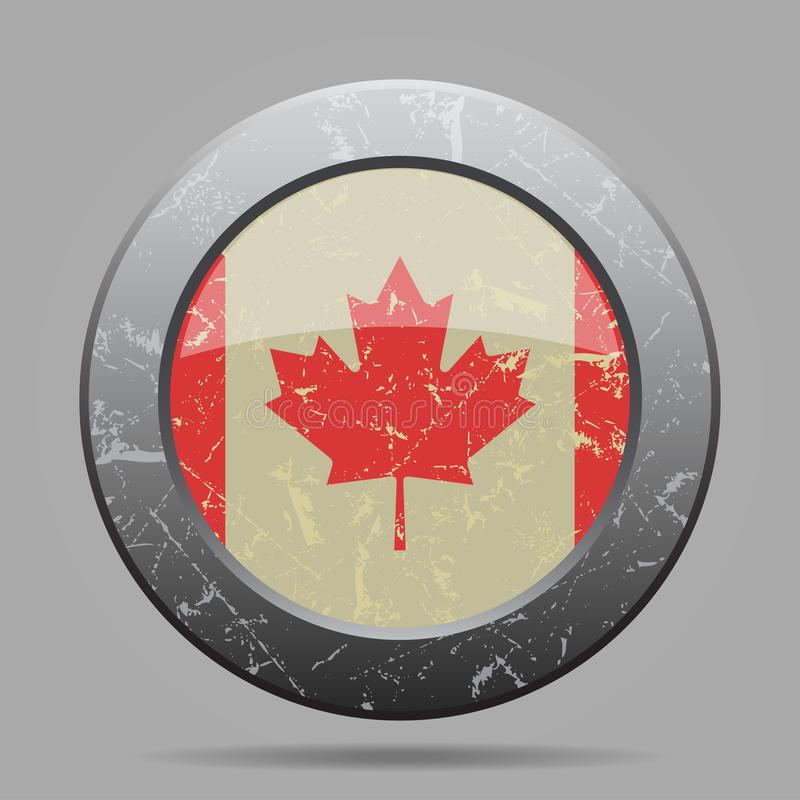 Vintage metal button with flag of Canada - grunge stock illustration