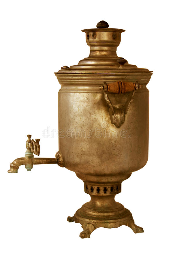 Vintage metal copper tea samovar on white background. Samovar side view. retro soot grunge tea samovar was used for a long time. B royalty free stock image