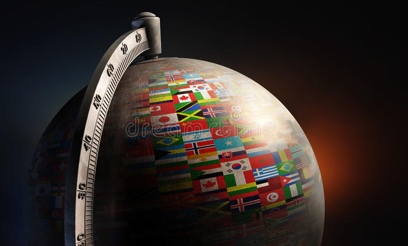 Vintage metal desktop globe with nation flags. On dark abstract background royalty free illustration