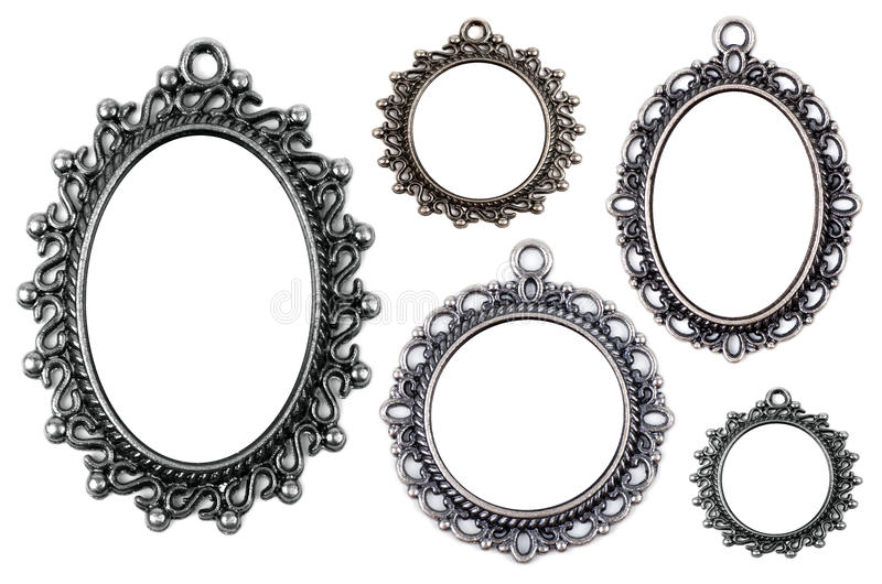 Vintage Metal Medallion Frames, Isolated. Stock Photo - Image of ...