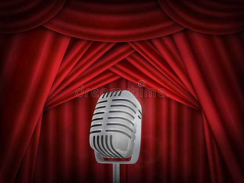 Vintage metal microphone. Red silk curtain backdrop. Retro mic on empty theatre stage. Stand up comedian night show or karaoke party background. with text royalty free illustration
