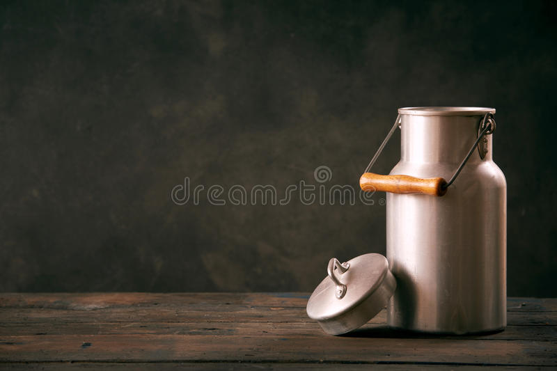 Vintage metal milk can with lid stock images