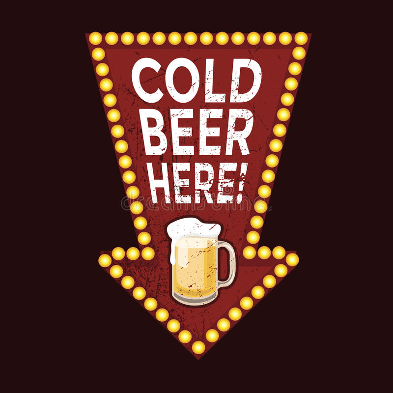 Vintage metal sign Cold Beer Here vector illustration