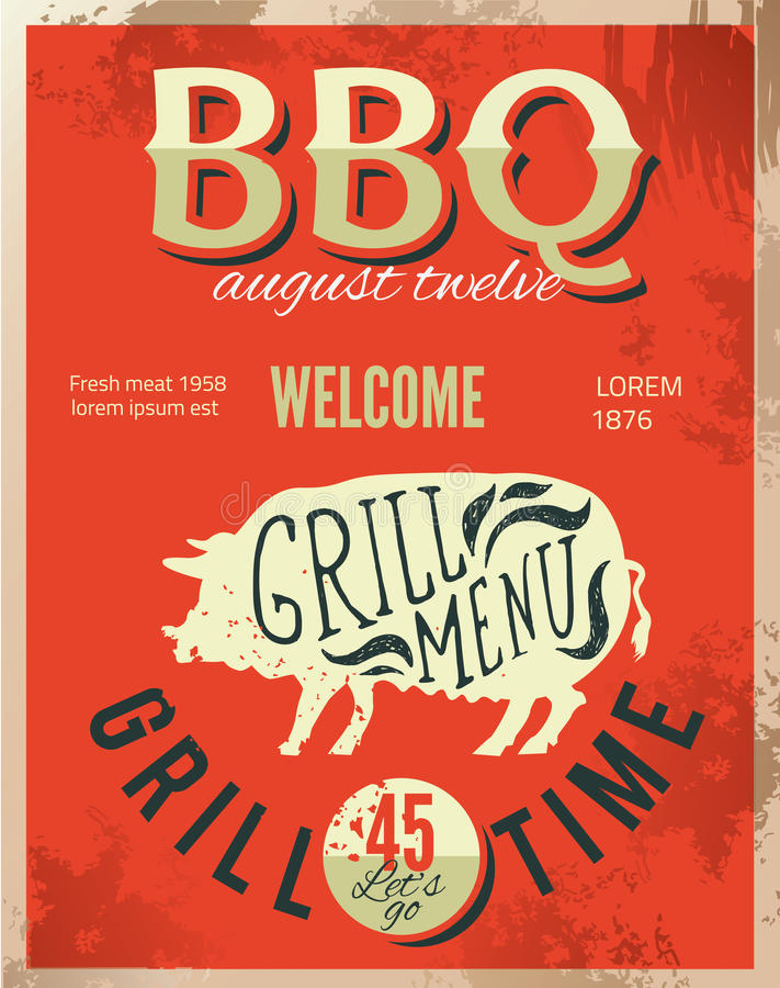 Vintage metal sign - Dad's BBQ - Vector EPS10. Grunge effects can be easily removed. stock illustration