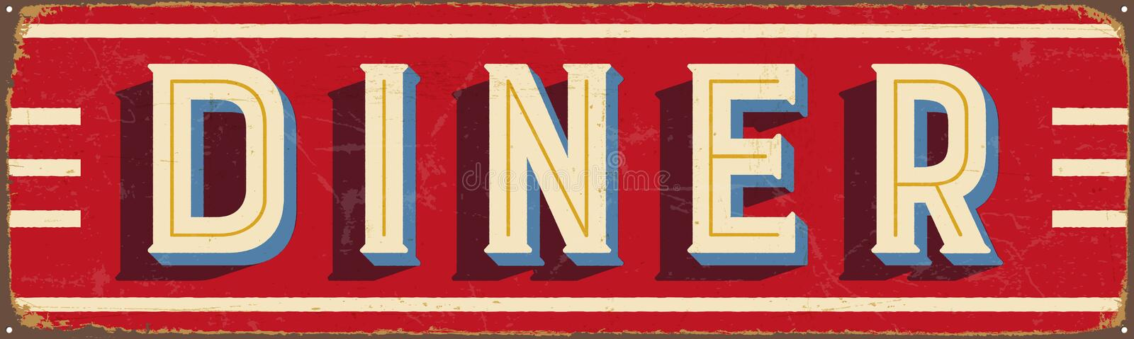 Vintage metal sign - Diner royalty free illustration