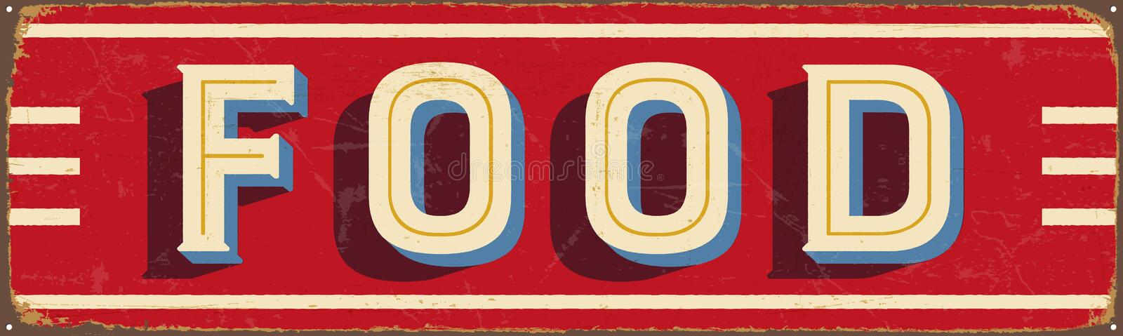 Vintage metal sign - Food. Vector EPS10. Grunge and rusty effects can be easily removed for a cleaner look stock illustration