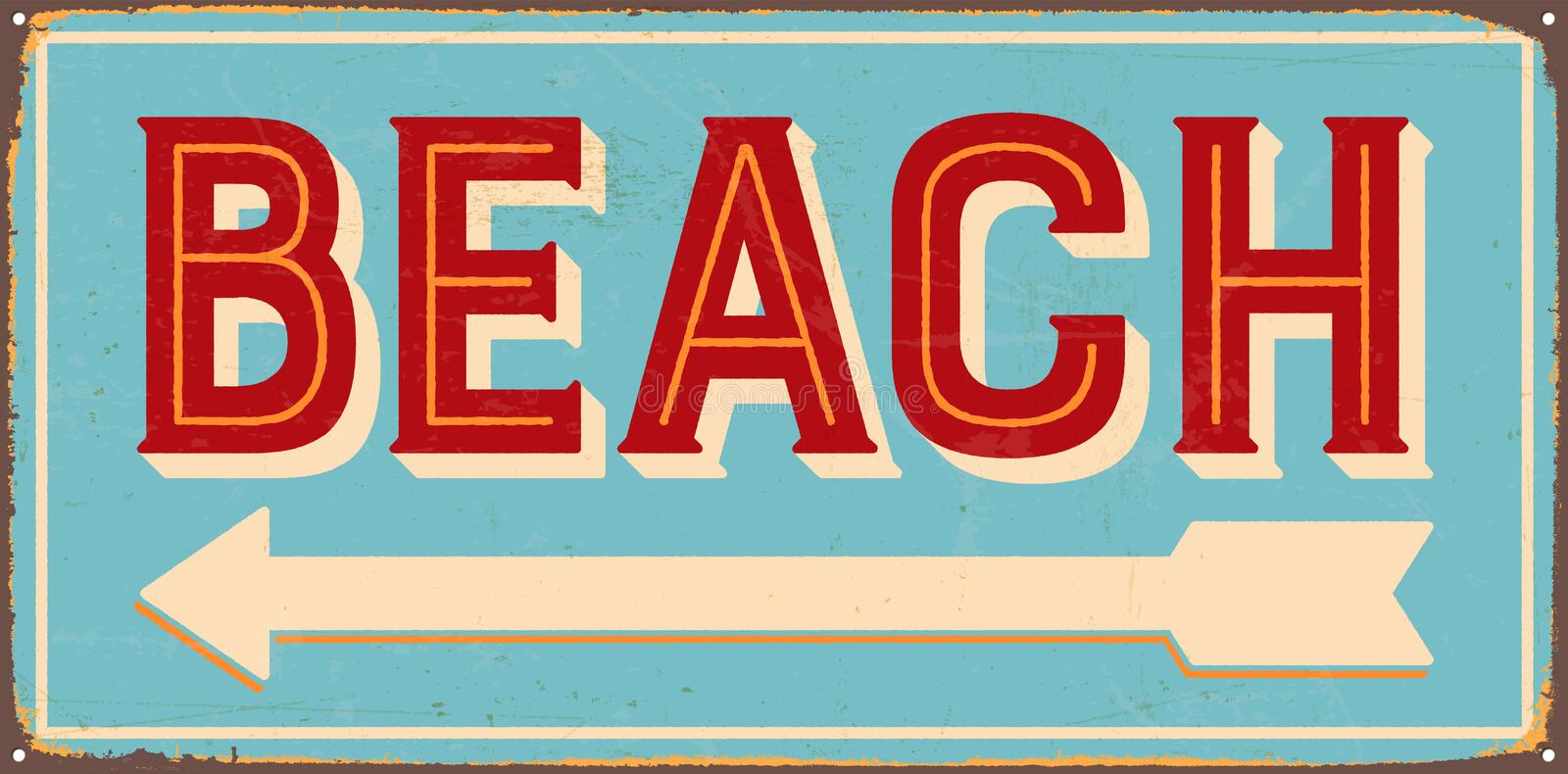 Vintage Metal Sign. Vintage Vector Metal Sign - Beach direction - with a realistic used and rusty effect that can be easily removed for a clean, brand new sign royalty free illustration