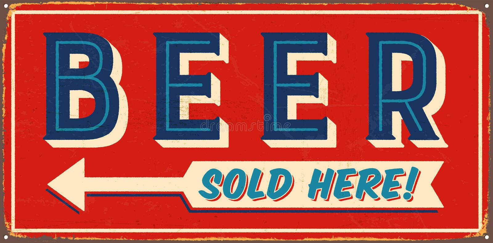 Vintage Metal Sign stock illustration