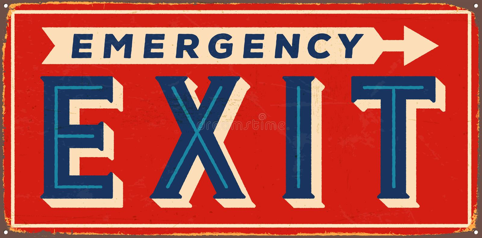 Vintage Metal Sign. Vector Vintage Emergency Exit Metal Sign, with a realistic used and rusty effect that can be easily removed for a clean, brand new sign vector illustration