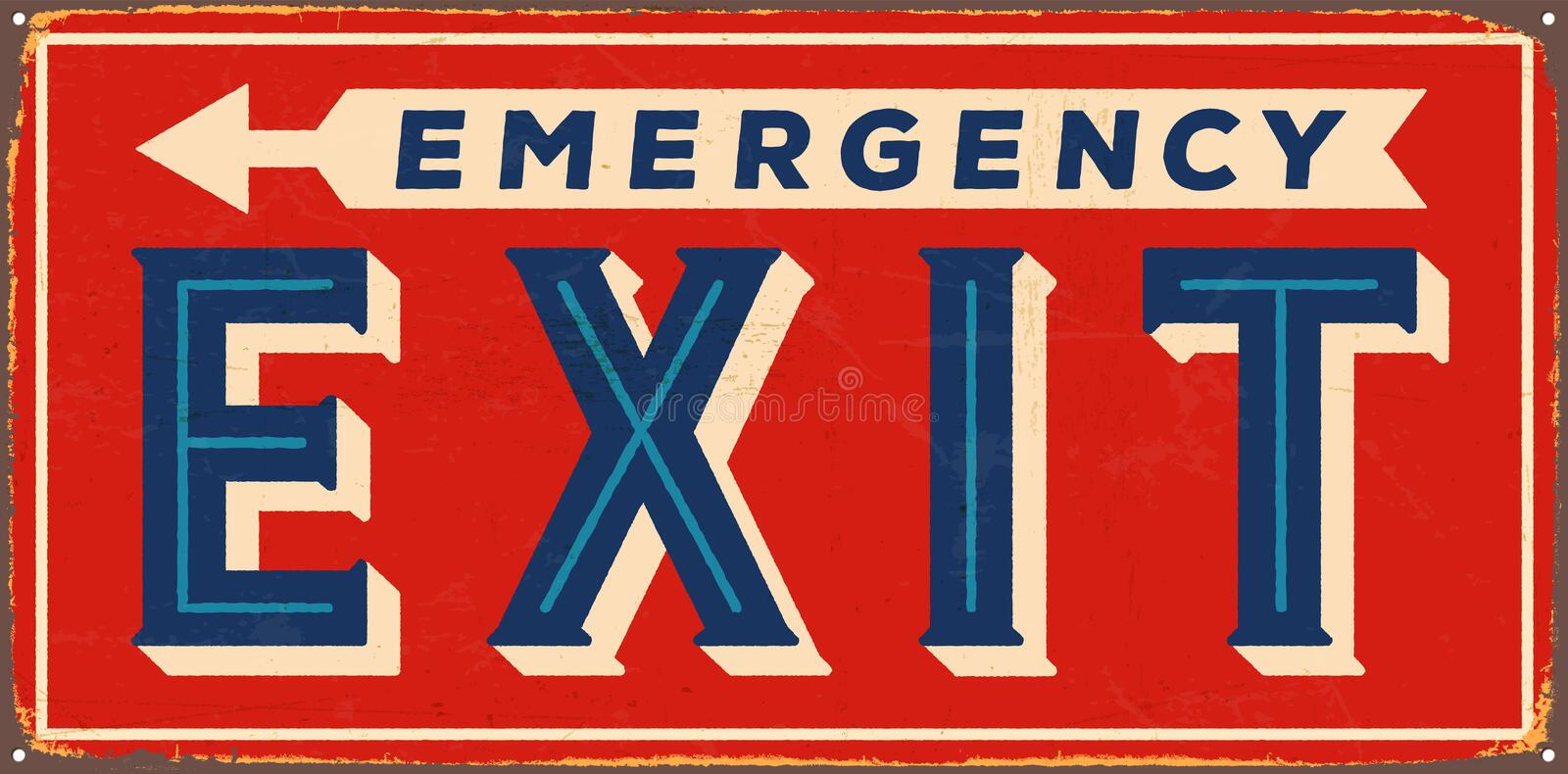 Vintage Metal Sign. Vintage Vector Metal Sign - Emergency Exit - with a realistic used and rusty effect that can be easily removed for a clean, brand new sign royalty free illustration