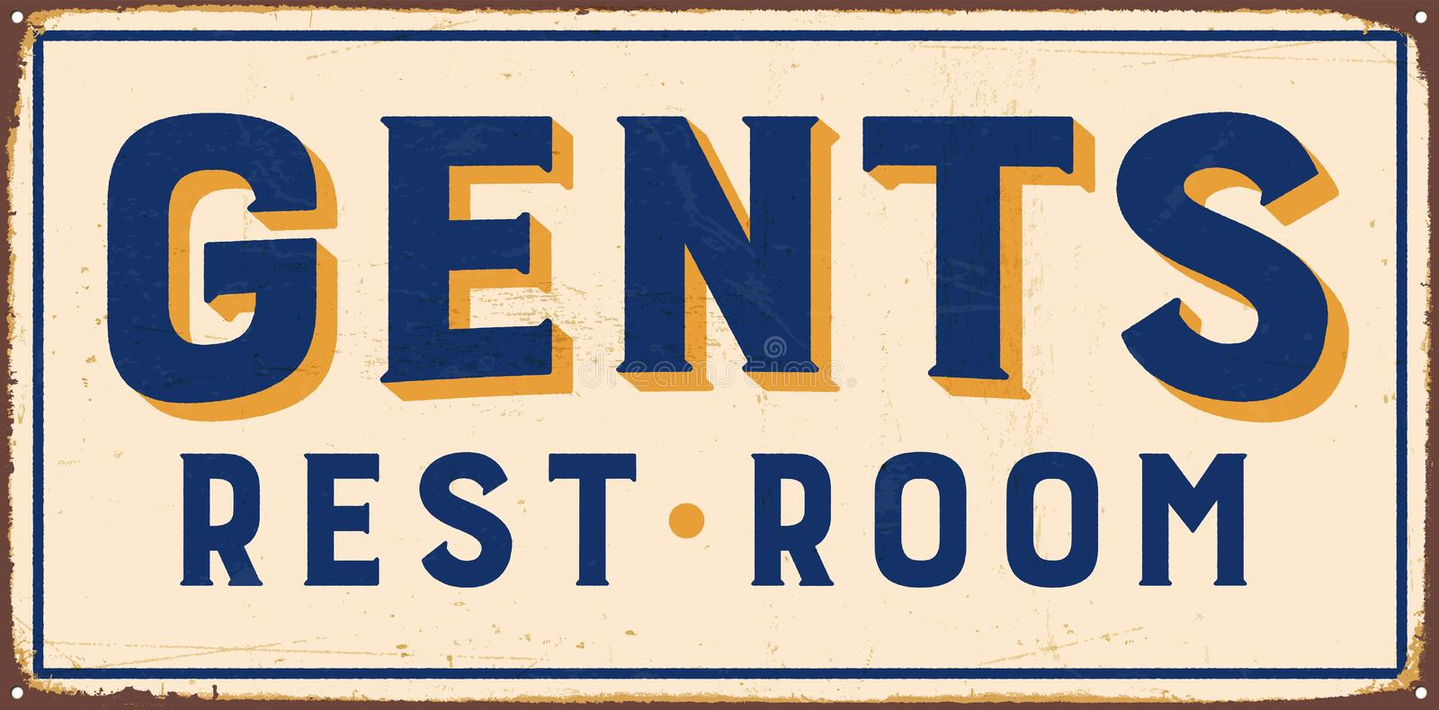 Vintage Metal Sign. Vintage Vector Metal Sign - Gents Rest Room - with a realistic used and rusty effect that can be easily removed for a clean, brand new sign royalty free illustration