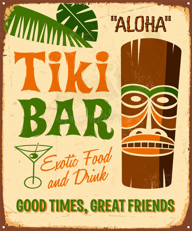 Vintage Metal Sign. Vintage Vector Metal Sign - Tiki Bar - with a realistic used and rusty effect that can be easily removed for a clean, brand new sign vector illustration