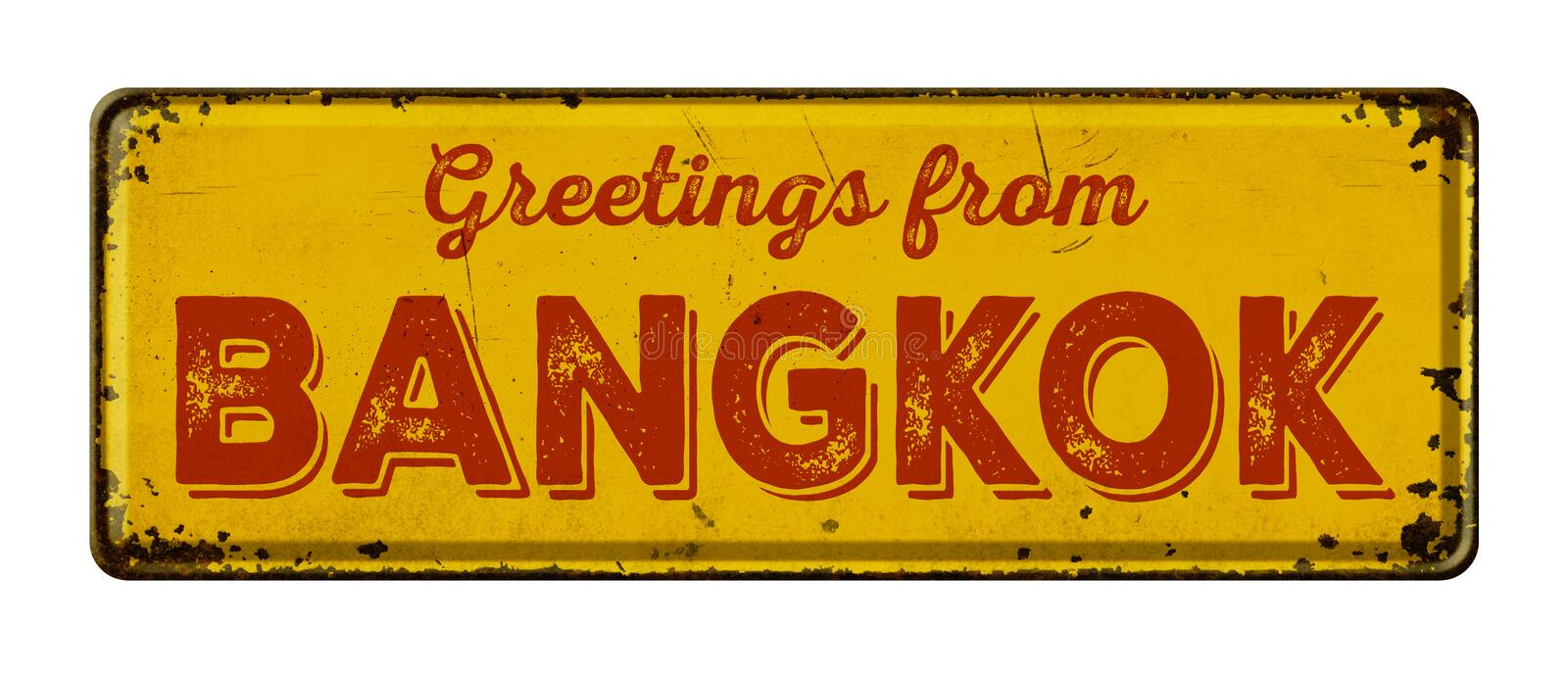 Greetings from Bangkok. Vintage metal sign on a white background - Greetings from Bangkok stock photography