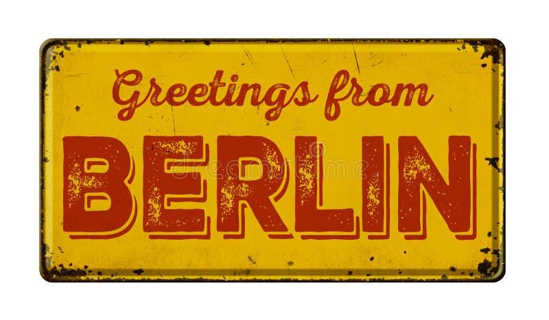 Greetings from Berlin. Vintage metal sign on a white background - Greetings from Berlin stock photo