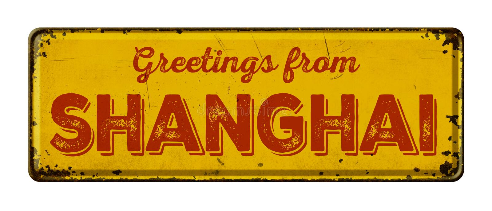 Greetings from Shangh. Vintage metal sign on a white background - Greetings from Shanghai royalty free stock photos