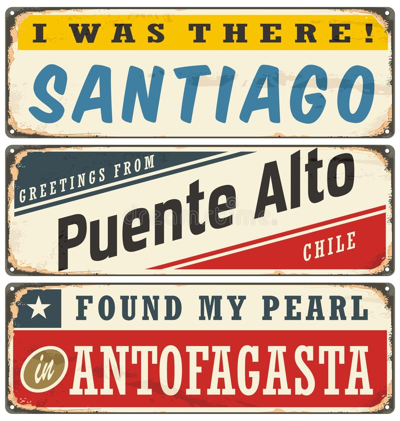 Vintage metal signs collection with Chile cities stock illustration