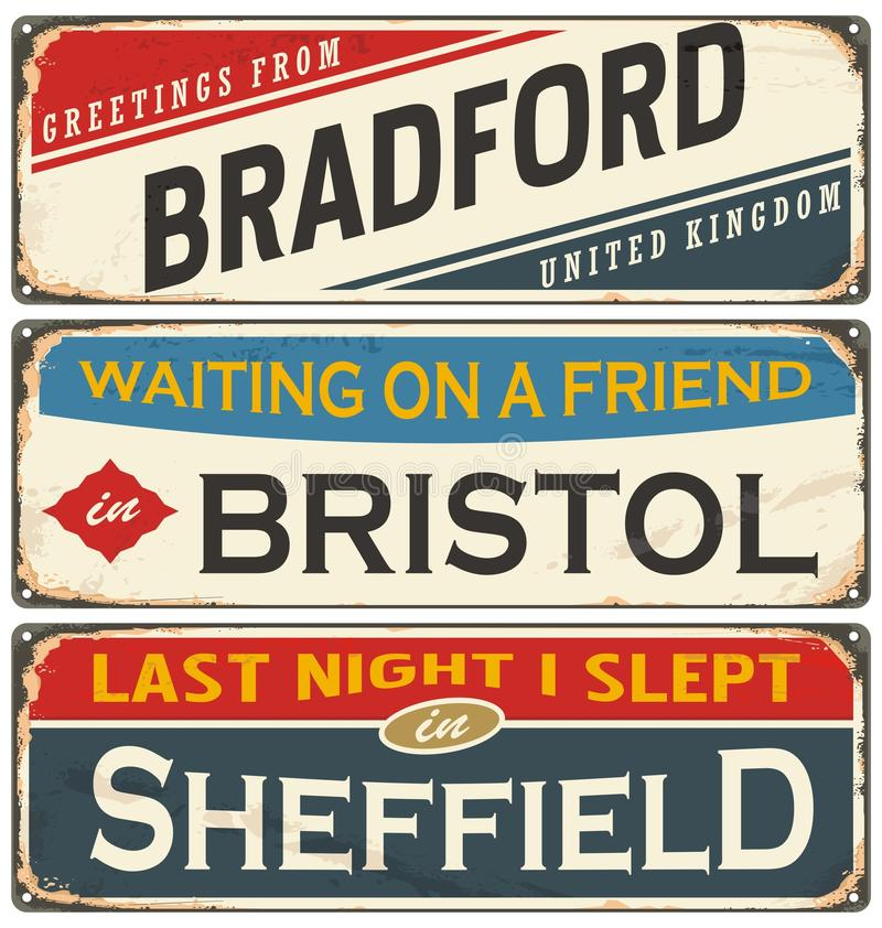 Vintage metal signs collection with UK cities royalty free illustration