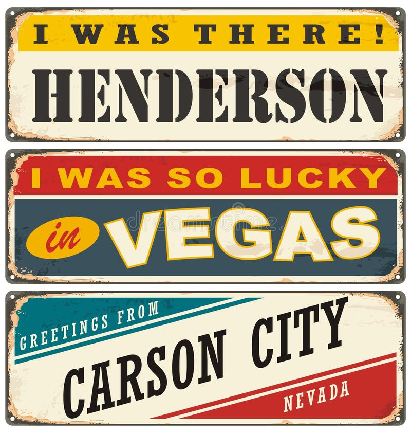 Vintage metal signs collection with USA cities vector illustration