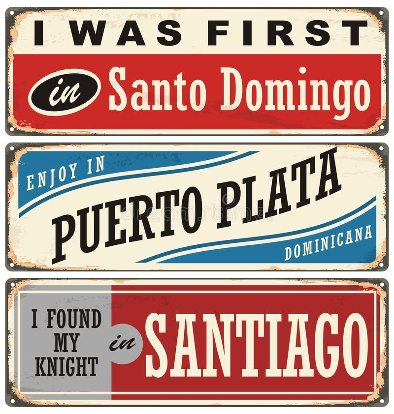 Vintage metal signs and souvenirs collection with cities in Dominican Republic royalty free illustration