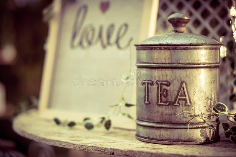 Vintage metal tea box stock photo