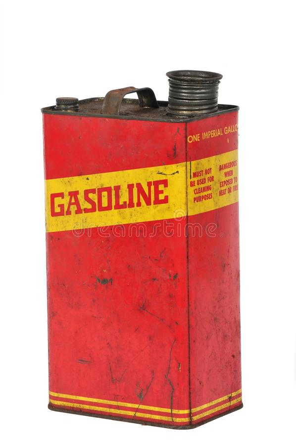 Vintage metallic fuel container isolated on white royalty free stock photos
