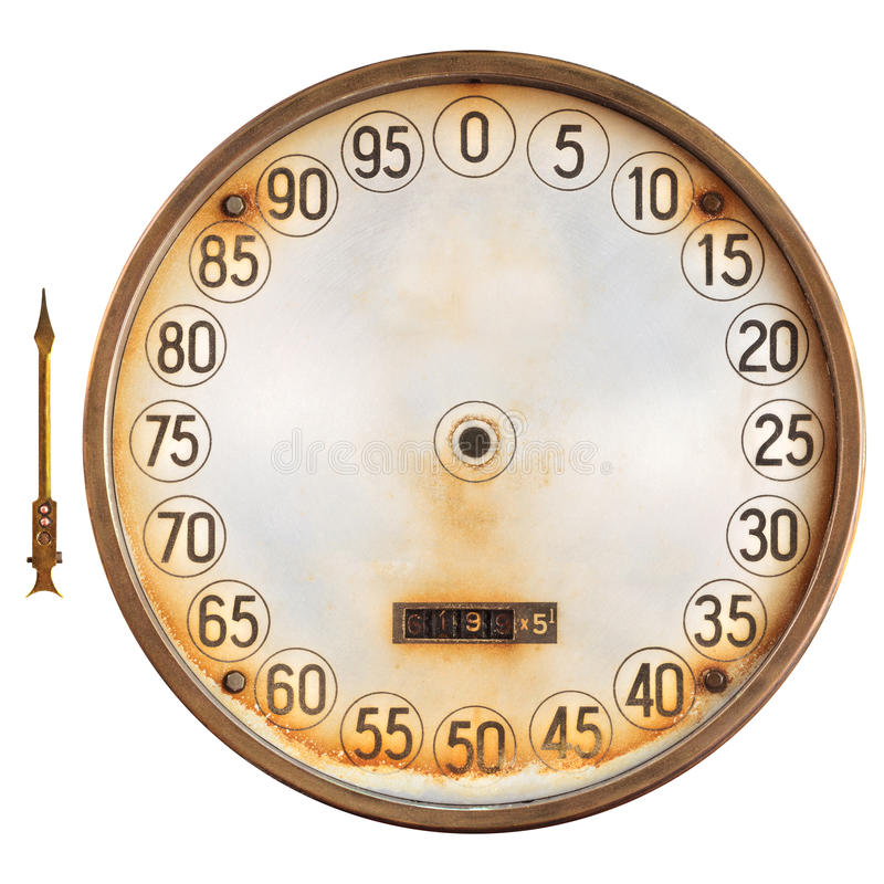 Vintage meter of a petrol pump with separate indicator isolated stock photography