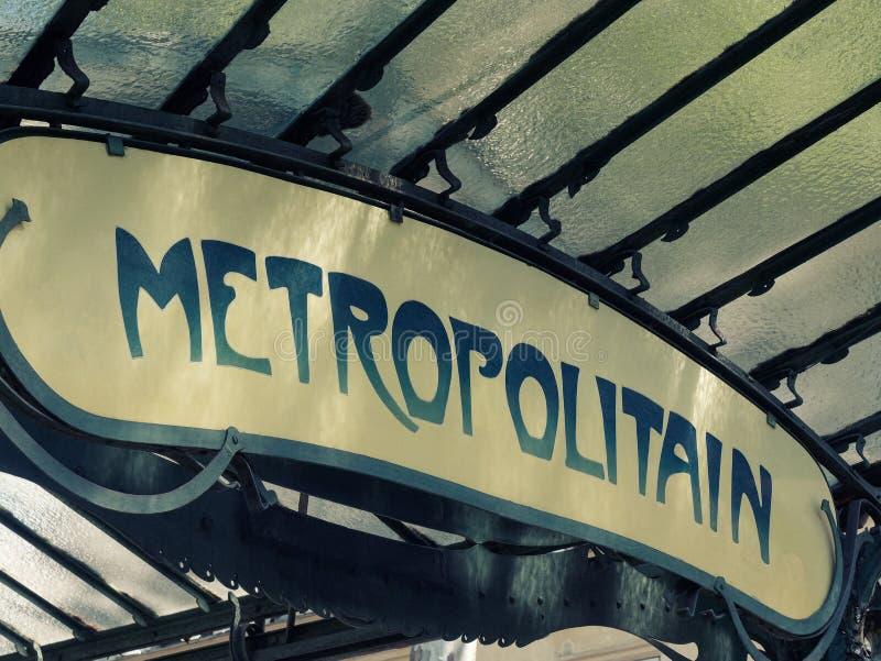 Vintage Metropolitan or metro sign metro in Paris France royalty free stock photos