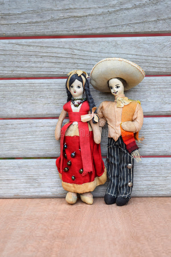 Vintage Mexican Couple Cloth Dolls stock images