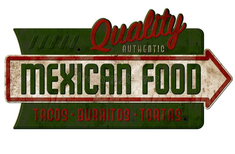 Vintage Mexican Food Sign Tacos Burritos Tortas Nachos royalty free stock photos