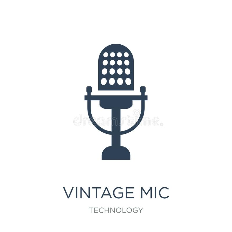 vintage mic icon in trendy design style. vintage mic icon isolated on white background. vintage mic vector icon simple and modern royalty free illustration