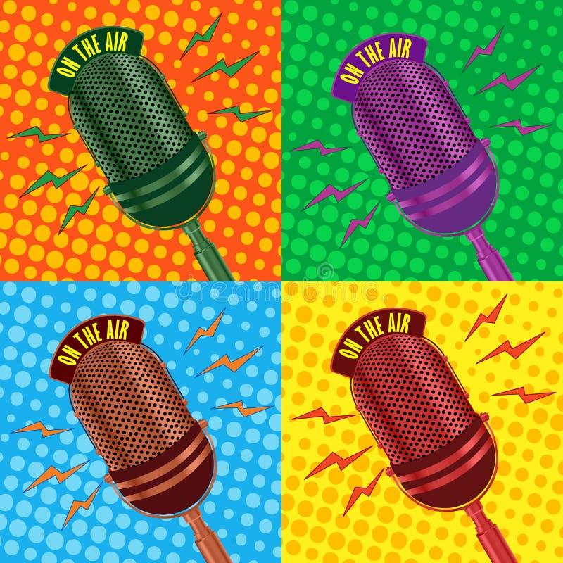 Vintage microphone. Pop art, old radio microphone background stock illustration