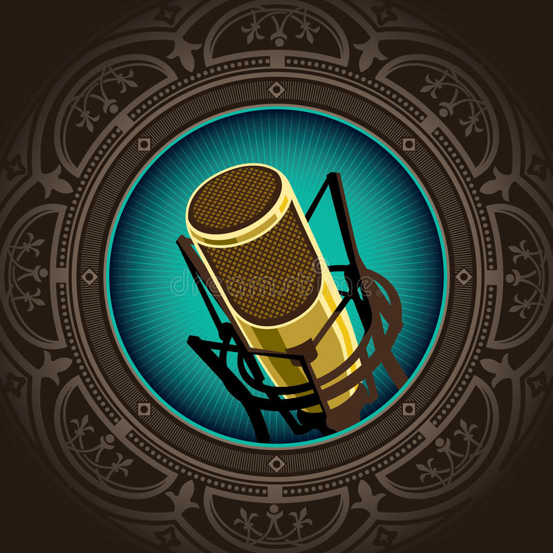 Vintage microphone. Stylized illustration of vintage microphone stock illustration