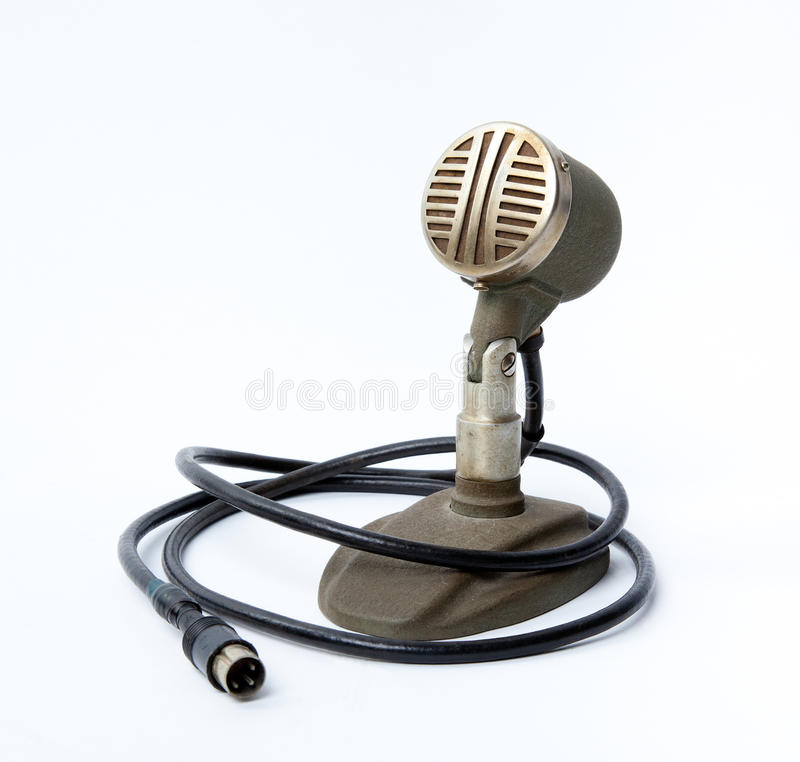 Vintage microphone. Isolated on the white background royalty free stock photos