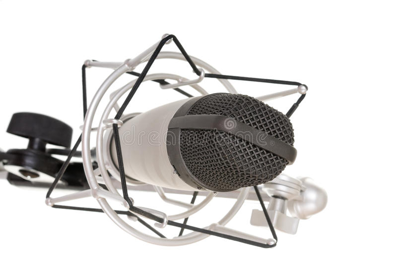 Vintage microphone. On a white background stock image