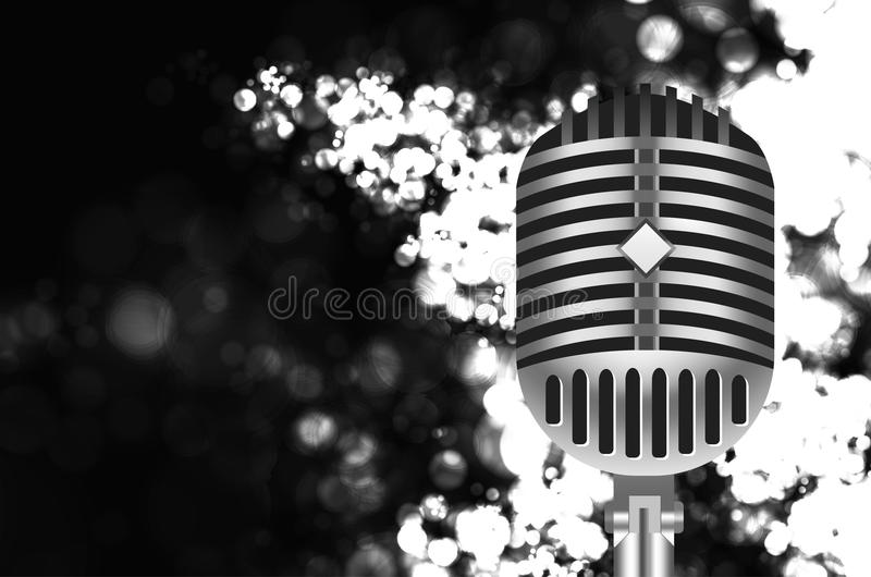 Vintage microphone. Vintage retro microphone on stage stock illustration