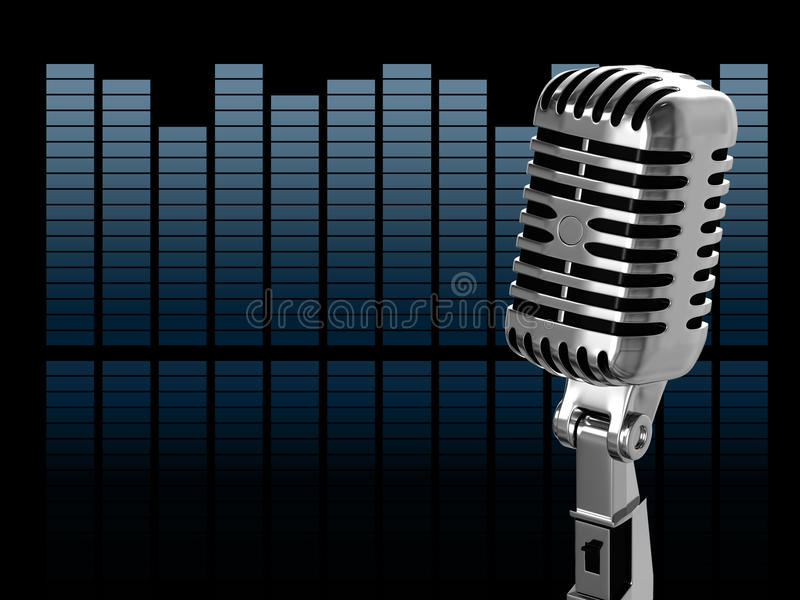 Vintage microphone. On the abstract background stock illustration