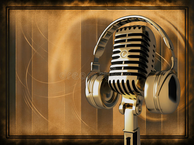 Vintage microphone. On the background royalty free illustration