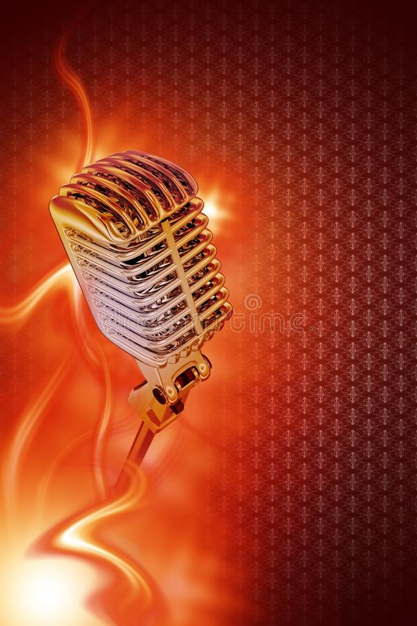 Vintage Microphone. Vintage Stylish Microphone in Flames. Karaoke Theme. Great Design for Your Karaoke or Concert Event. Just Place Your Content. Karaoke stock illustration