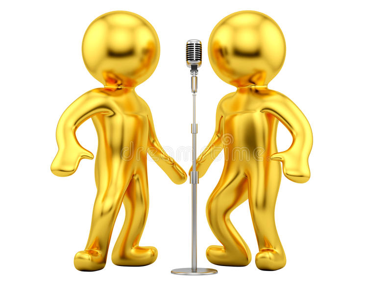 Vintage Microphone. Render of a vintage microphone and 2 man on a white background stock illustration