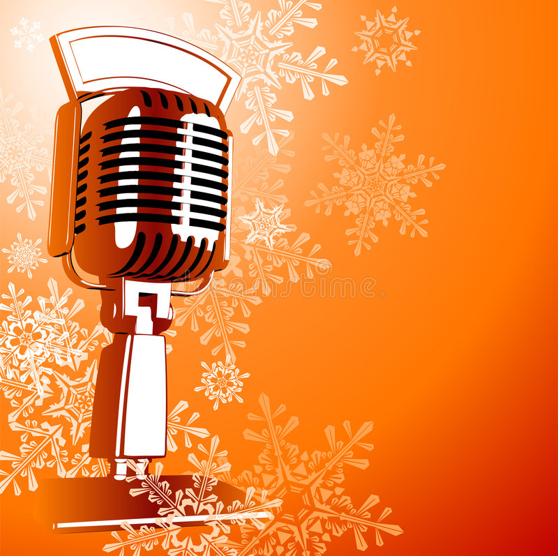 Vintage microphone. On orange background & snowflakes vector illustration