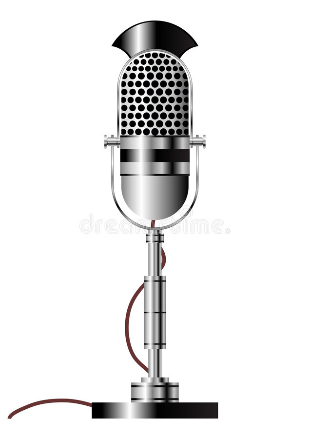 Vintage microphone. Vintage radio microphone isolated over white background vector illustration