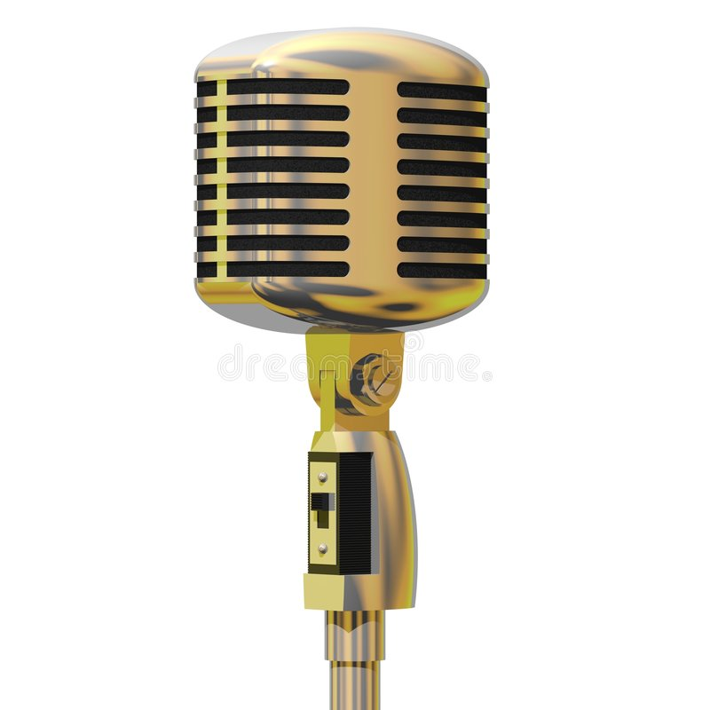 Vintage Microphone. Beautiful vintage 1950's style microphone isolated on white stock illustration