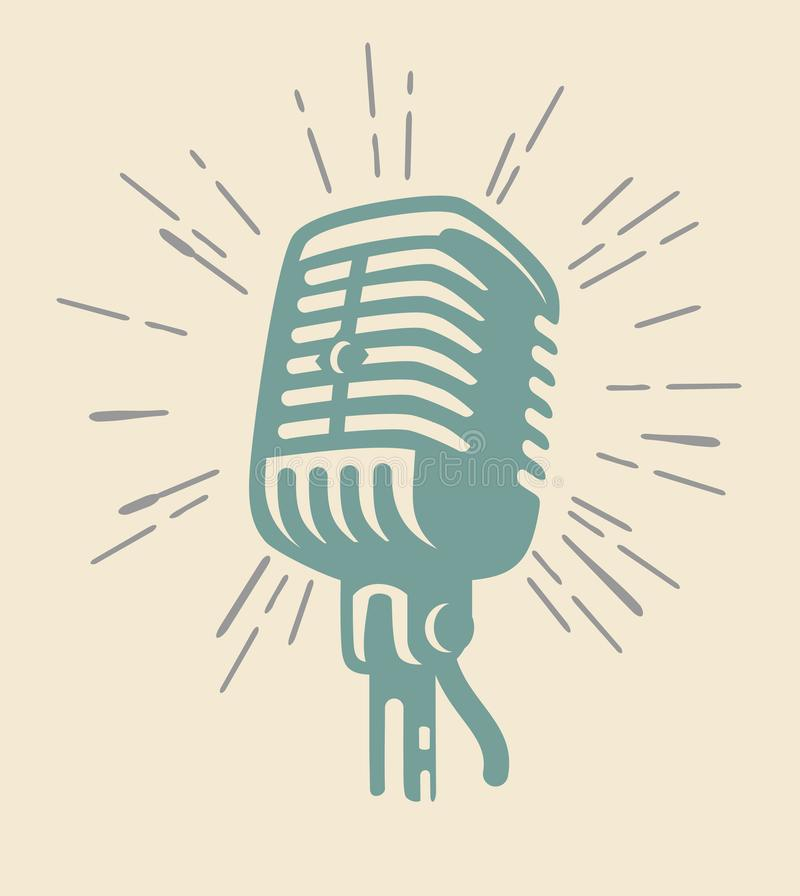 Vintage microphone on beig royalty free illustration