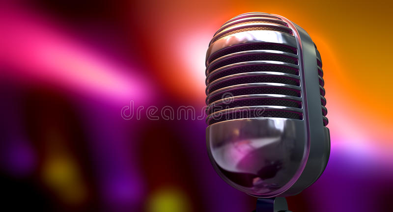 Vintage Microphone On Color Background royalty free stock photo