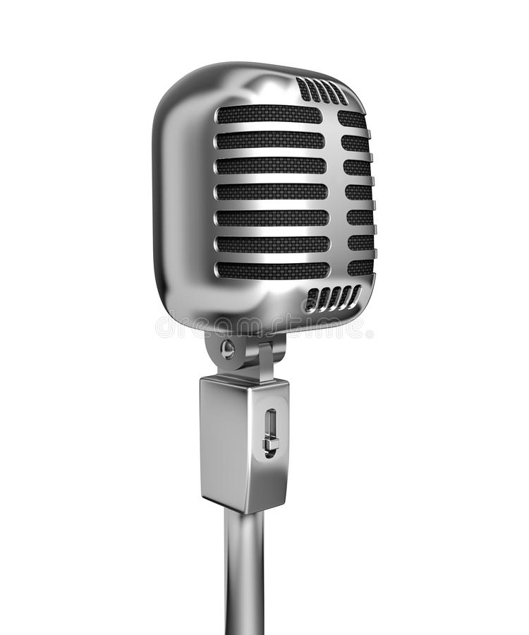 Vintage microphone. 3d illustration, isolated on white background vector illustration