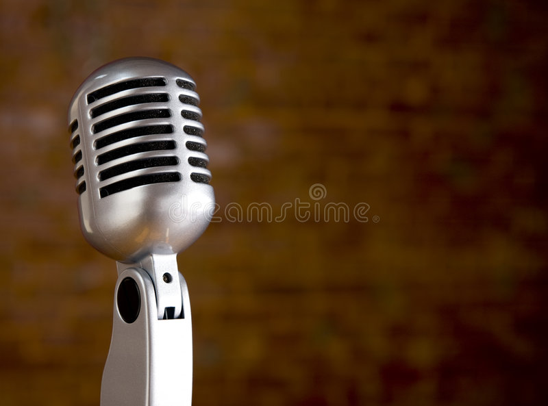 Download Vintage Microphone In Front Of Blurred Background Stock Image - Image: 6490345