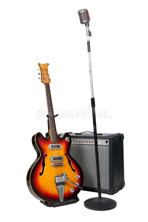 vintage microphone with guitar and amplifier stock photo image of metal music 24403676. Black Bedroom Furniture Sets. Home Design Ideas