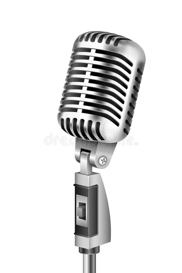 Vintage Microphone. Illustration of Vintage Microphone on isolated white background vector illustration