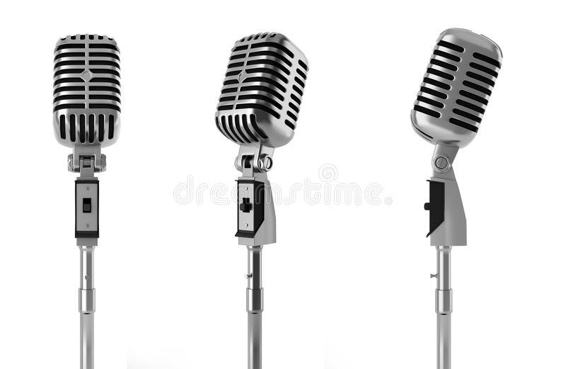 Vintage microphone isolated on white. Background stock illustration