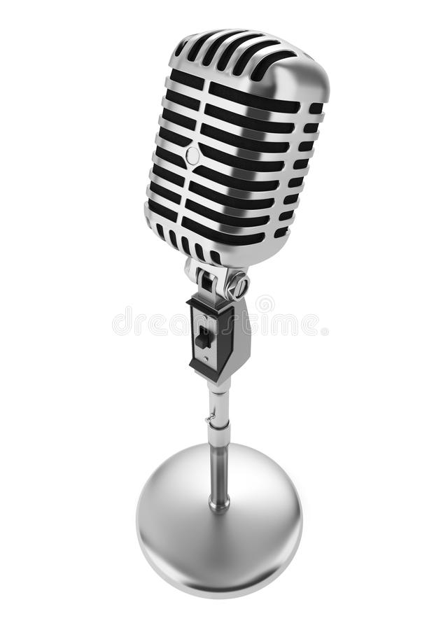 Vintage microphone isolated on white. Background royalty free illustration